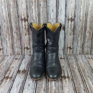 JUSTINS|Black Mid Calf Cowboy Western Boots 8.5 EE
